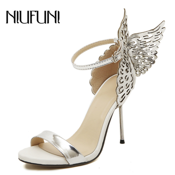 NIUFUNI 2020 Butterfly Wings Summer Peep Toe Sandals Women Shoes Stiletto High Heels Solid Color Buckle Sandals Sandalias mujer luxury brand women shoes clear diamante stiletto heels peep toe high heels sandals summer party dress shoes cross strap sandals
