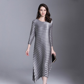 LANMREM Office Lady High-end Temperament Solid Full Sleeve Plus Size Sexy Women Pleated Dress 2020 Autunmn New Dresses AI951