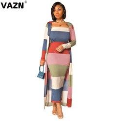VAZN-Conjunto de 2 piezas de punto de alta gama para mujer, Vestido largo de tela de manga larga X con retazos, ajustado, 2020
