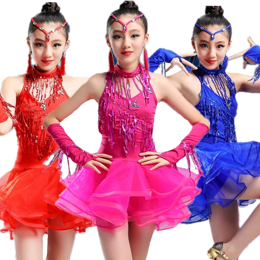 Sequins Latin Dance Dress Tutu Dance Costumes Clothes For Dancing Salsa Tango Ballroom Baby Girl Adult Female Costume Vestidos