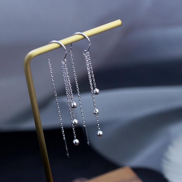 Купить оптовая продажа серебряные серьги капельки с длинной кисточкой