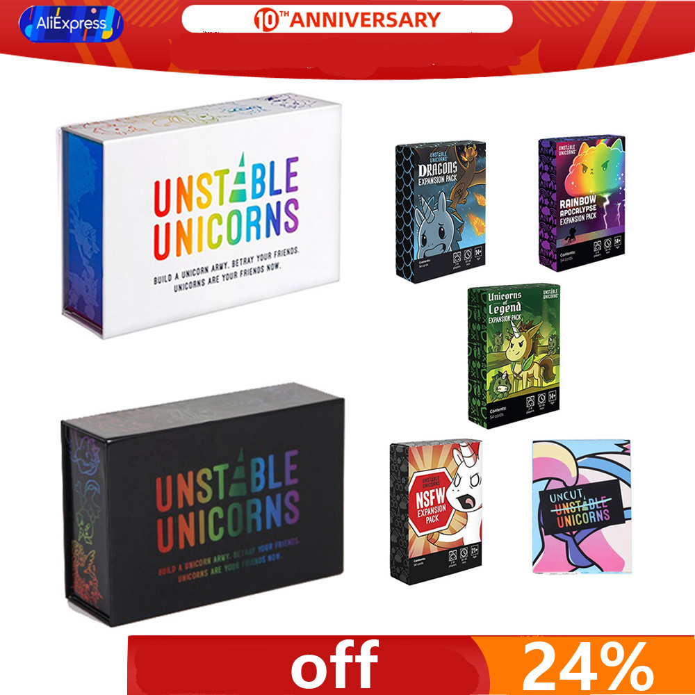 Unstable Unicorns Base With Expansion Pack Strategy Table Game Party Unicornly Travel Game Toy English Version