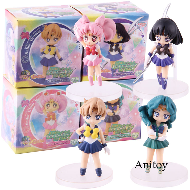 Pretty Guardian Sailor Moon Sailor Uranus Saturn Neptune Chibi Moon Chibiusa Figure Action PVC Collectible Model Toy 4pcs/set