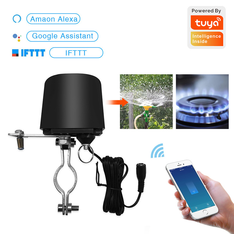 Wifi Smart Water Valve Tuya WiFi Automation Control Valve For Gas Water Control Work Amazon Alexa,Goole Assistant,IFTTT