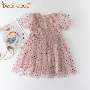 Bear Leader Girls Polka Dot sukienki siateczkowe 2021 letnie sukienki dla dziecka Princess Dress dzieci odzież codzienna Sweet Vestidos 3 7Y