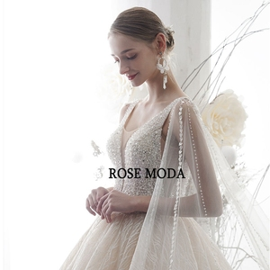 Image 4 - Rose Moda Luxury Deep V Neck Glittering Wedding Dress 2020 with Cape Crystal Wedding Gown Long Train Custom Make