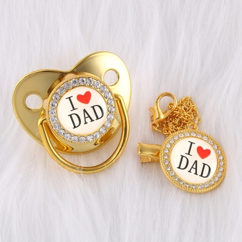 Luxury Crystals Diamond Gold Baby Pacifier Baby Dummy Orthodontic Bling Pacifier Chain I Love Dad Kid Nipple Soother Holder Clip bling bling pacifier clip any initials letter pacifier chain holder dummy clip safe metal chain