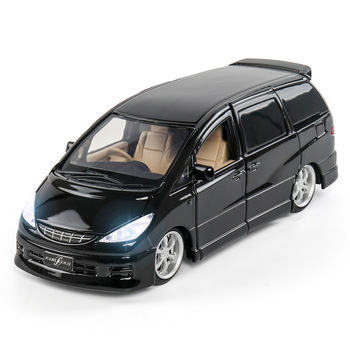 1:32 Diecast Car Toy Vehicles Alloy Car Model Simulation Estima MPV Car Sound And Light Car Doors Open For Kids Toys Gift 1 18 diecast model for ford tourneo brown mpv alloy toy car miniature collection gift