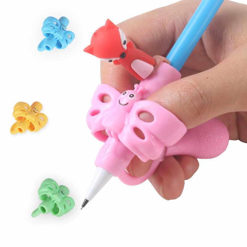 1PC ผีเสื้อสไตล์สามนิ้ว Writing Corrector Pencil Grip เด็กเด็กการเรียนรู้ถืออุปกรณ์ปากกาผู้ถือ