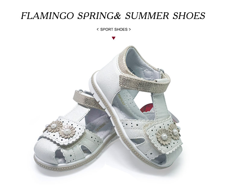FLAMINGO kids sandals for girls Hook& Loop Flat Arched Design Chlid Casual Princess Shoes Size 22-27 For Girls 201S-HL-1716/1717