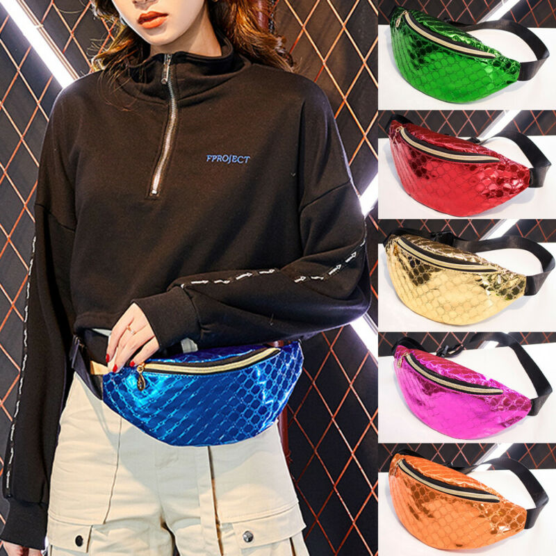 Fashion Womens Waist Bags Solid Color Lady Glitter Sequins Waist Bags Fanny Pack Pouch Hip Purse Satchel Plaid Zipper Waist Bags