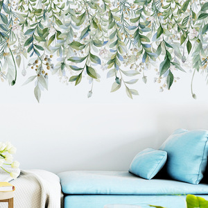 Green Leaves vine Wall Stickers for Living room Bedroom TV Sofa Background Self-adhesive Wall Decals Removable Vinyl Wall Murals