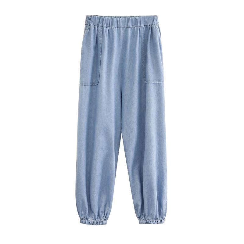 Lady Jeans Spring Plus Size Harem Pants Women Thin Tencel Denim Trousers Blue Female Ankle Banded Jeans Casual K1-0826