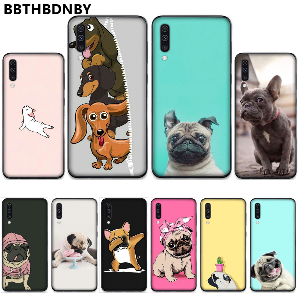 Pug <font><b>Dog</b></font> French Bulldog High Quality Phone <font><b>Case</b></font> For <font><b>Samsung</b></font> A20 A30 30s A40 A7 2018 J2 <font><b>J7</b></font> prime J4 Plus S5 Note 9 10 Plus image