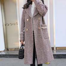 Liva girl Women Houndstooth Long Wool Blend Korean Lady Autumn Winter Long Woollen Coat Casual Female Oversize Coat Office(China)