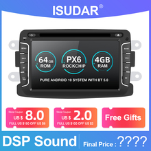 Isudar PX6 1 Din Android 10 Car Radio For Dacia/Sandero/Duster/Renault/Captur/Lada/Xray 2/Logan 2 Auto Multimedia Player RAM 4G