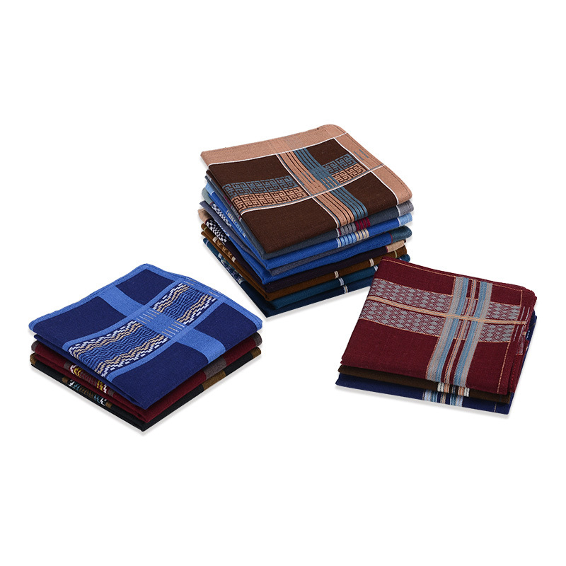 3Pcs Square Plaid Stripe Handkerchiefs Men Protable Hanky Pocket Cotton Towel 40*40cm Random  Soft Cotton Handkerchiefs Hot Sale