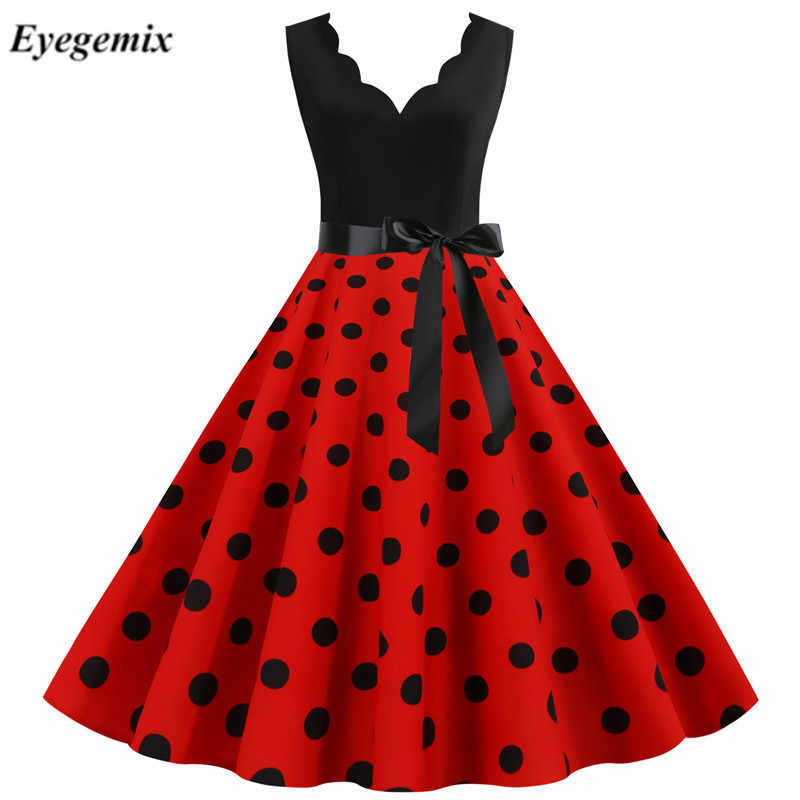 Vrouw Retro Jurken Audrey Hepburn 1950 S 60 S Rockabilly V-hals Stipboog Pinup Ball Grown Party Gewaad Plus size Vestidos