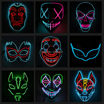 Costume Props Neon Led Luminous Joker Mask Carnival Festival Light Up EL Wire Mask Japanese Fox Mask Halloween Christmas Decor top selling el cable rope explorer design clothes led strip neon light stylish luminous costume for carnival new years day decor