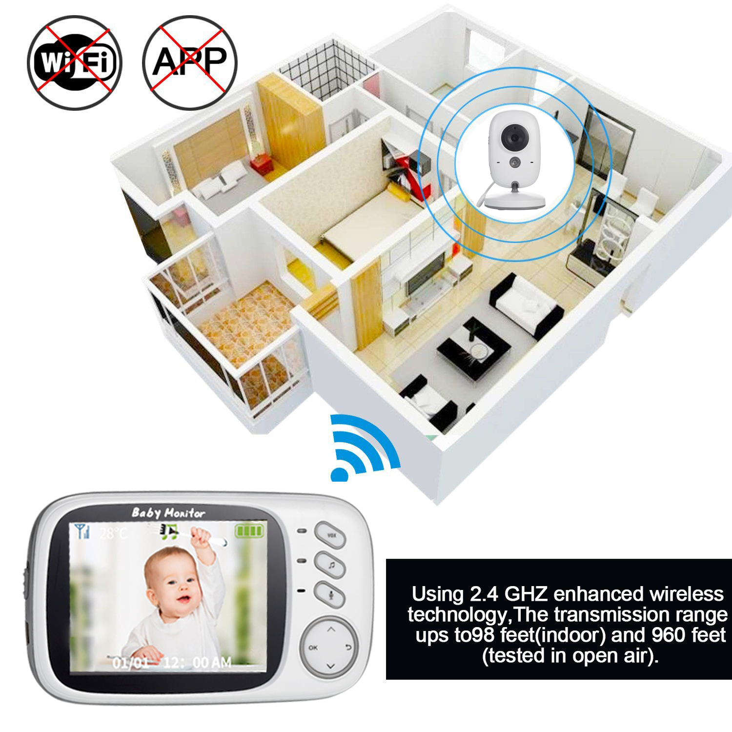 3 inch Wireless LCD Baby Monitor With Night Vision And 2 way Talk Monitor Baby Camera 4