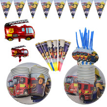 Fireman Sam Theme Birthday Party Decorations Banner Fire Engine Fighter Theme Paper Cups Plates Favors Baby Shower Supelies(China)