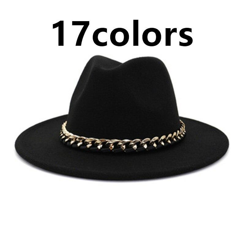 Sombreros fedora de visera ancha para hombre y mujer, color caqui, negro, Jazz, cinturón de cadena de fieltro, vaquero, Vintage, Otoño e Invierno