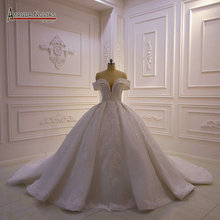 قبالة الكتف الأشرطة الدانتيل الكامل الخرز ثوب زفاف 2020 أماندا novias