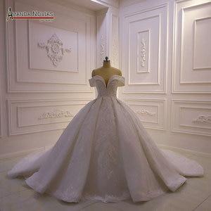 Image 1 - את כתף רצועות מלא תחרה ואגלי חתונת שמלת 2020 אמנדה novias