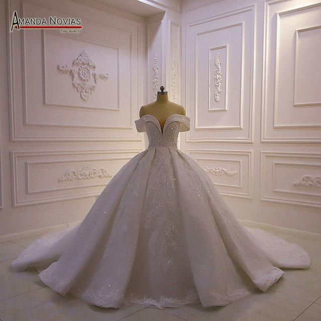 את כתף רצועות מלא תחרה ואגלי חתונת שמלת 2020 אמנדה novias