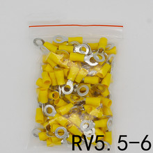 цена на RV5.5-6 Yellow Ring insulated terminal cable Crimp Terminal suit 4-6mm2 Cable Wire Connector 100PCS/Pack RV5-6 RV