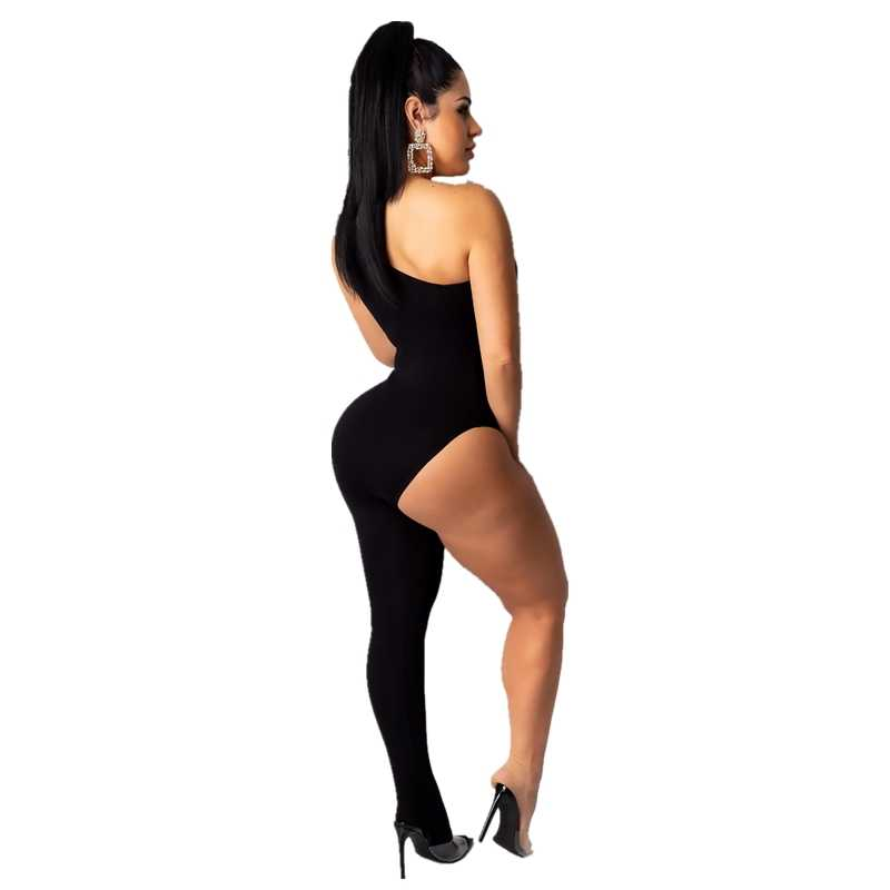 ANJAMANOR אופנה חמה אחת רגליים Bodycon סרבל Romper נשים 2019 סקסי יוצא מסיבת מועדון חתיכה אחת תלבושות שחור נמר ורוד