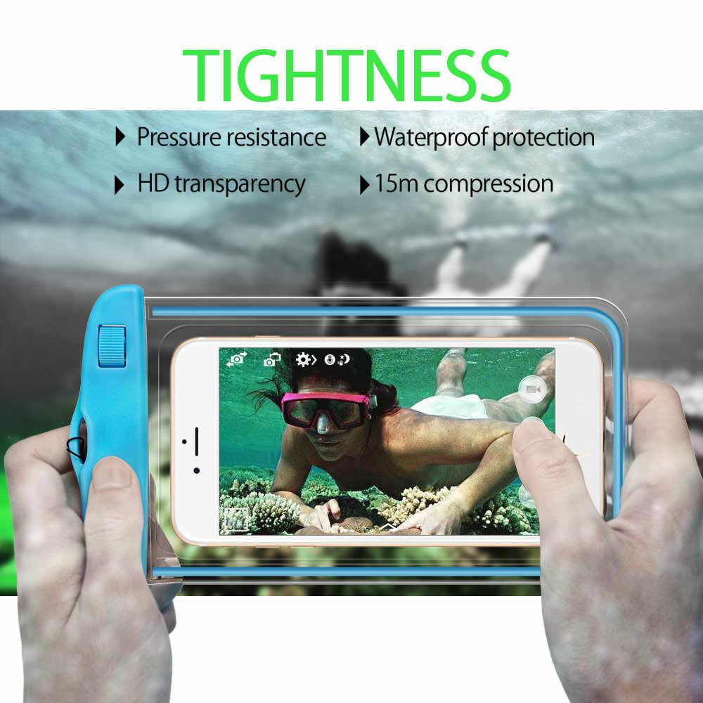 Tas Tahan Air Case Universal 6.5 Inch Ponsel Casing Berenang Kasus Mengambil Foto Di Bawah Air untuk iPhone 7 Perlindungan Penuh cover Case