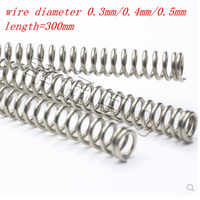 2-5pcs/lot 0.3mm 0.4mm 0.5mm 0.6mm 0.8m 304 Stainless Steel Long Spring Y-type Compression Spring Outer Dia 3-6mm Length 300mm