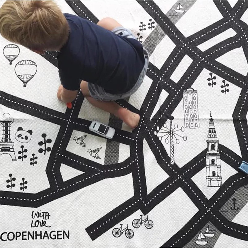 New Style Kid Car City Scene Traffic Highway Map Play Mat Educational Toy For Children Toddler Climb Game Road Carpet Home Decor | Happy Baby Mama