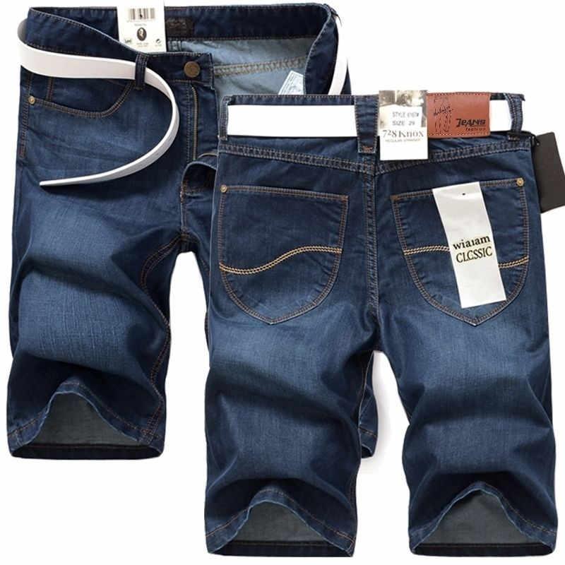 2019 dżinsy męskie lato odcinek cienkie jakości Denim Jeans męskie krótkie mężczyźni niebieski Denim szorty dżinsowe spodnie duży Plus rozmiar 40 42