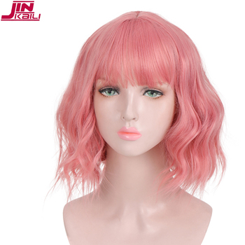 JINKAILI Short Wigs For Black Women Short Wavy Wigs  Synthetic Hair Pink Ombre Bangs Heat Resistant Cosplay Wig wignee hand made front ombre color long blonde synthetic wigs for black white women heat resistant middle part cosplay hair wig