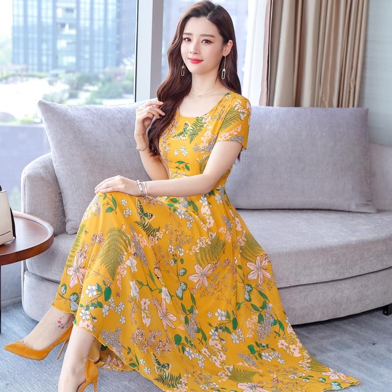 2021 new summer Korean chiffon dress women's Casual Short Sleeve temperament large yellow red flower round neck dress 4