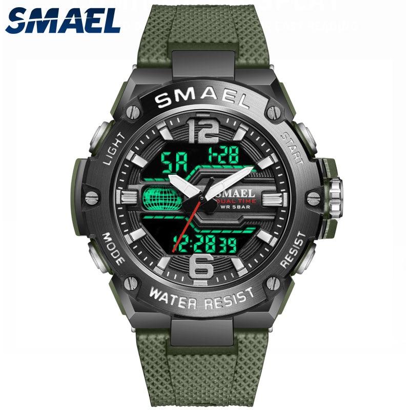 Fashion Men Watch Sport Clock 50M Waterproof Wristwatches LED Digital Auto Date Stopwatch Alarm Clocks 8033 Men's Casual Watches