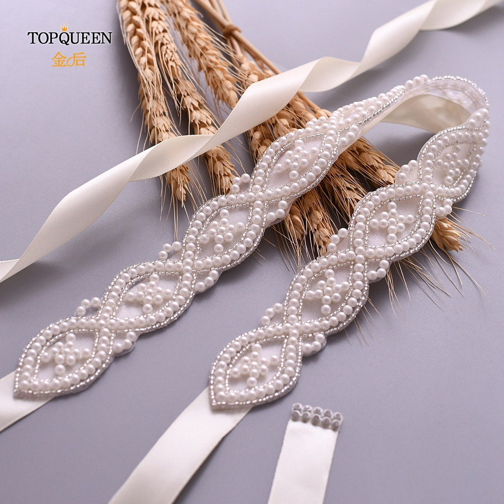 TOPQUEEN S353 Bridal Dress Belt Woman Party Belt Wedding Dress Belt Beaded Pearl Wedding Belt Girls Pearl Belts Wedding Sash