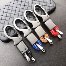 key cover amg Fashion leather car keychain key ring for Volkswagen Honda Toyota Kia BMW Audi Mercedes keychain braided rope(China)