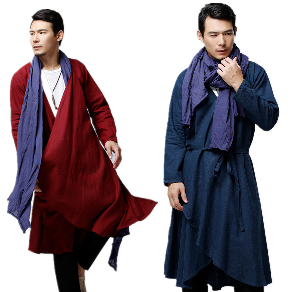 2019 Autumn And Winter New Style Ma Fan Elegant Casual Long   Trench   Coat Cotton Linen Men'S Wear Long Coat Chinese-style Men'S We