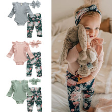 Girl Clothes 2020 New Baby Girl Ruflles Costume Flower Rompers warm autumn winte