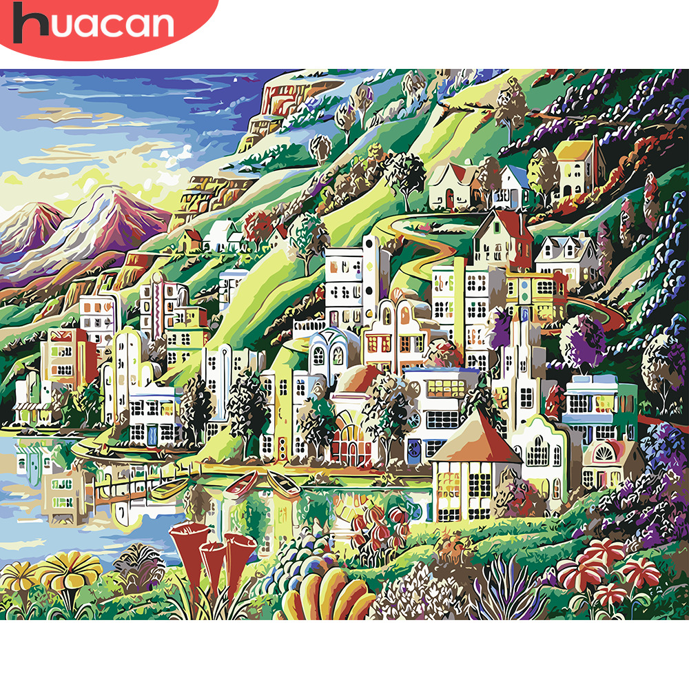 HUACAN Pictures By Numbers Small Town Scenery DIY Oil Painting By Numbers Landscape Kits Home Decor Drawing Canvas HandPainted image