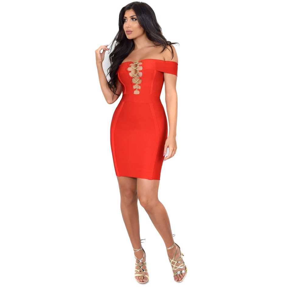 Heißer Verkauf Weg Von der Schulter Frauen Verband Kleid Rot Schwarz Sommer Mini Kleider Sexy Slash Aushöhlen Promi Party Club vestido