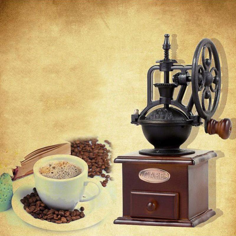 CPDD Hand Shake Coffee Bean Grinder Vintage Big Wheel Manual Coffee Machine Cast Iron