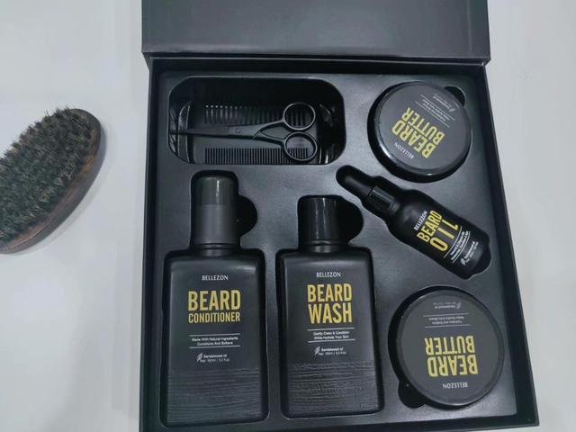Blue ZOO 8Pcs/set Men Beard Care Kit Beard Shaving Cream Aftershave Cleaning Care Nourishing Shaping Male Beard Care Set 5
