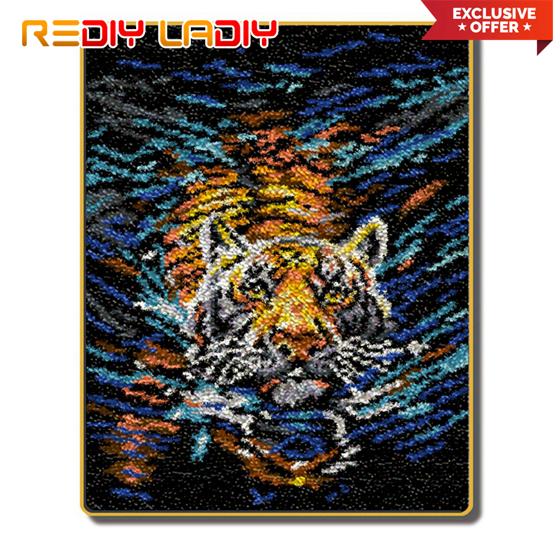 Latch Hook Rug Kits Swimming Tiger Crocheting Carpet Rug 100 Acrylic Yarn Cushion Mat Diy Carpet Rug Home Decor Art Crafts Leather Bag