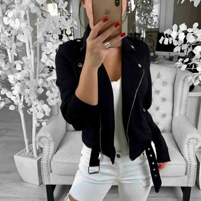 Womens Long Sleeve V-neck Biker Jacket Zipper Overcoat Motorcycle Jackets Spring Autumn Long Sleeve Solid Color Plus Size Coats