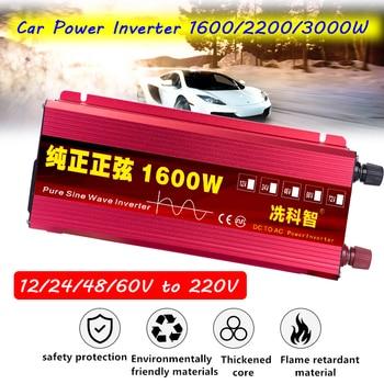 Car Power Inverter 1600/2200/3000W DC 12/24/48/60V to AC 220V Pure Sine Wave Auto Inverter Charger Converter Voltage Transformer