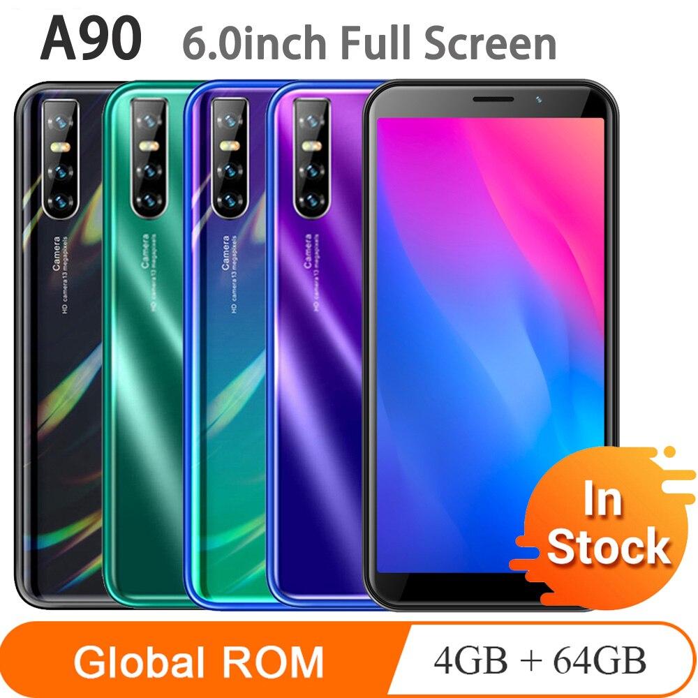 A90 6-дюймовый полноэкранный 4 Гб ОЗУ 64 Гб ПЗУ, четырехъядерный процессор core13MP, разблокировка распознавания лица, мобильные телефоны, android, WCDMA, ...